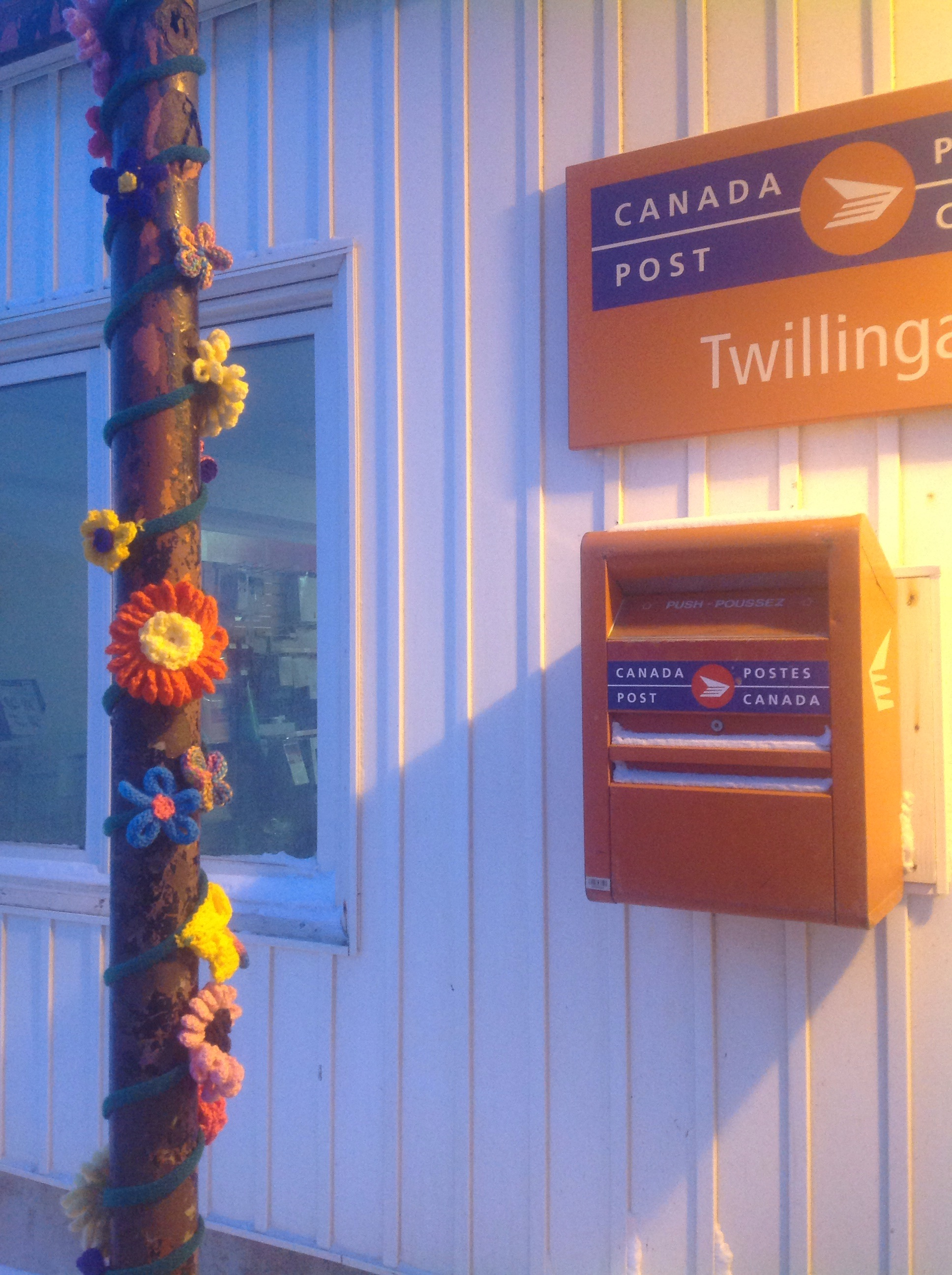 The final installed yarn bomb: D'vine in front of Twillingate Post Office